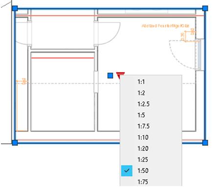 Bild 5: Ansichtsfenstermaßstab nach Hinzufügen eines Ansichtsfensters über den Pfeilgriff ändern.