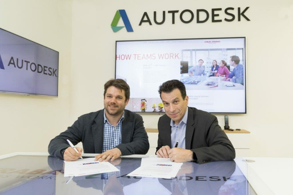 BIM-Software: Klemens Haselsteiner (Strabag) und Andrew Anagnost (Autodesk) bekräftigen die Zusammenarbeit.