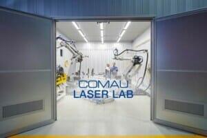 Laserschweißen in den Laboren von Comau für optimierte Elektromotoren und Batterien