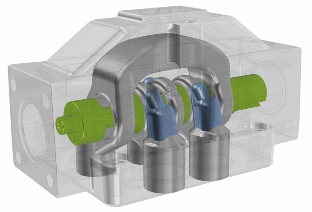 Das Hydraulikventil wurde in einer festen Schieberposition simuliert.