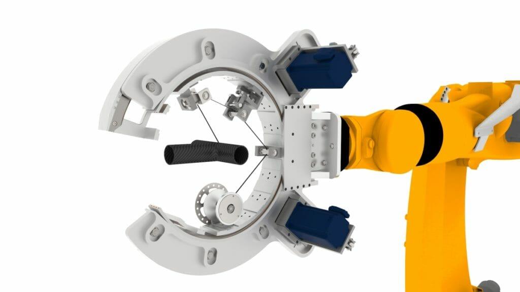 6-Achs-Roboter mit offenem C-Arm für Faserwickeln.