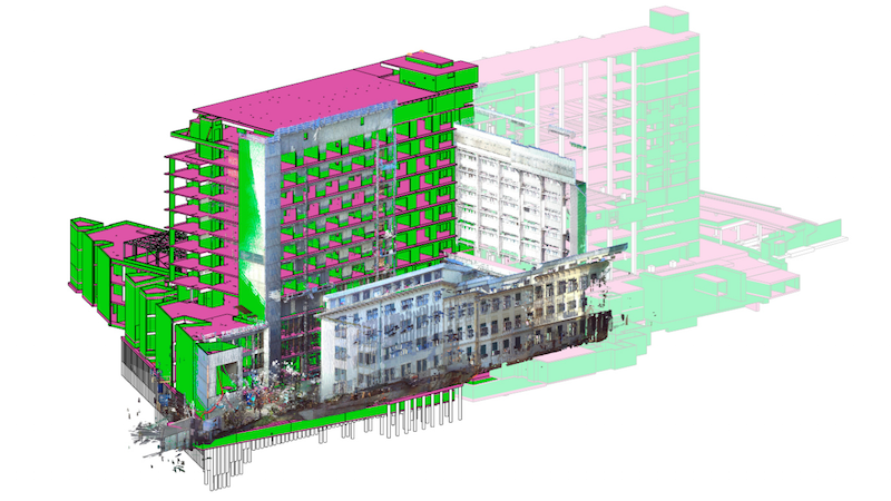 Bauabschnitte des Krankenhauses Graz.