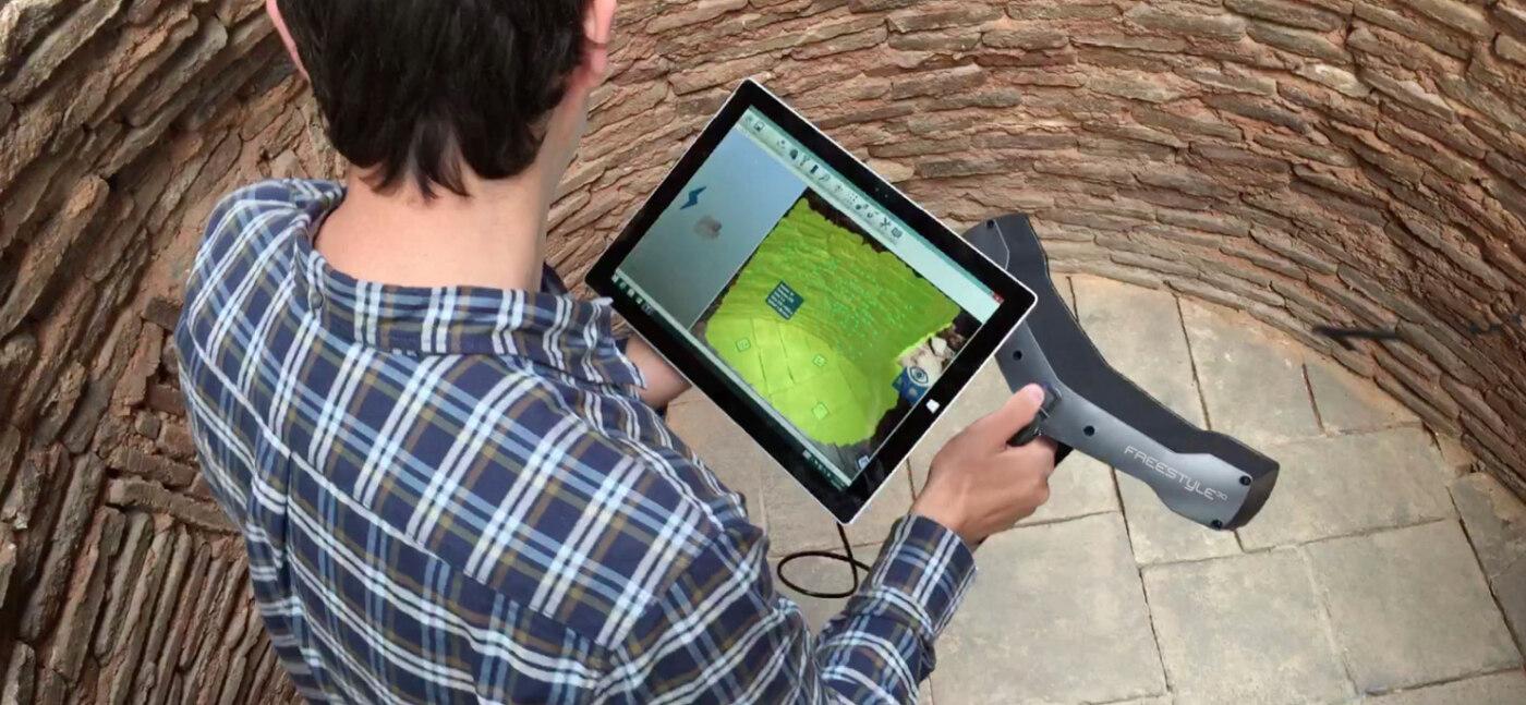 Bild 2: Bilder der 3D-Vermessung des Brunnens, erstellt mithilfe des FARO-Scanners Freestyle3D.