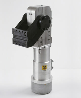 Für die Elektroschwenker liefert Groschopp komplett maßgefertigte, wartungsfreie Hohlwellenmotoren mit  einem Aluminiumgehäuse.