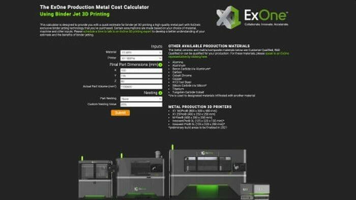 Online-Kalkulator für 3D-Druck mit Binder Jetting