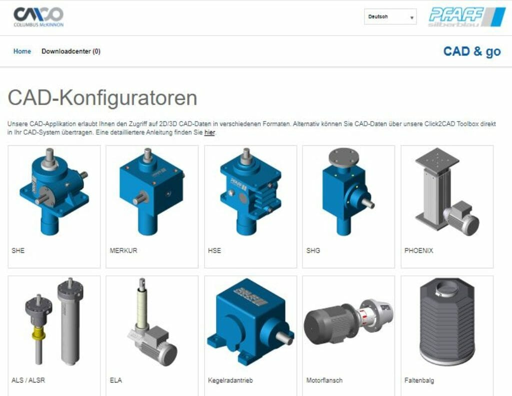 CAD-Konfiguration für Produkte von Pfaff-Silberblau